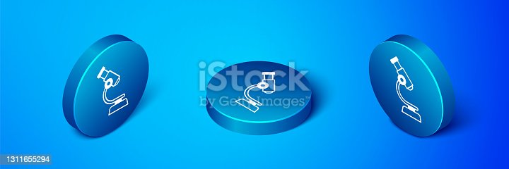 istock Isometric Microscope icon isolated on blue background. Chemistry, pharmaceutical instrument, microbiology magnifying tool. Blue circle button. Vector 1311655294