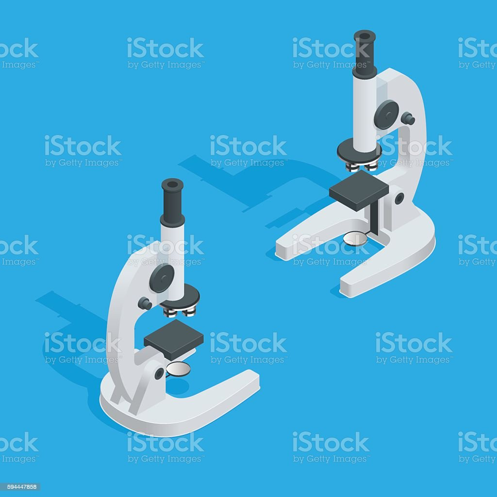 Isometric Microscope vector art illustration