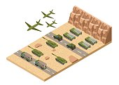 Isometric Military army low poly of base background