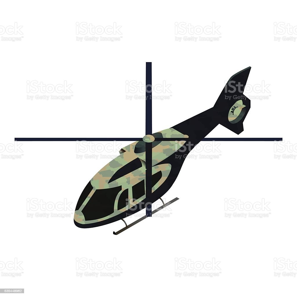 Isometric military helicoper vector art illustration