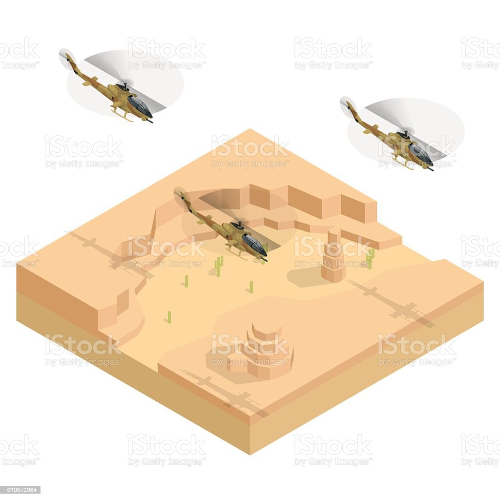 Isometric Military helicopter over the desert vector art illustration