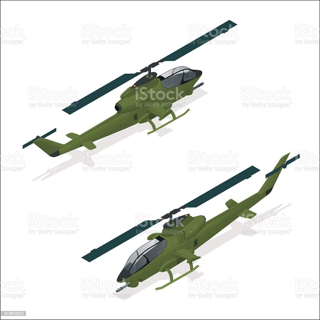 Isometric Military helicopter vector art illustration