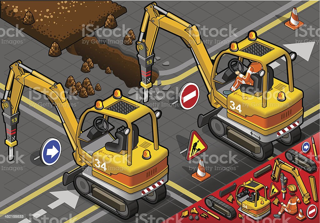 Isometric Mini Chisel Excavator in Rear View royalty-free stock vector art