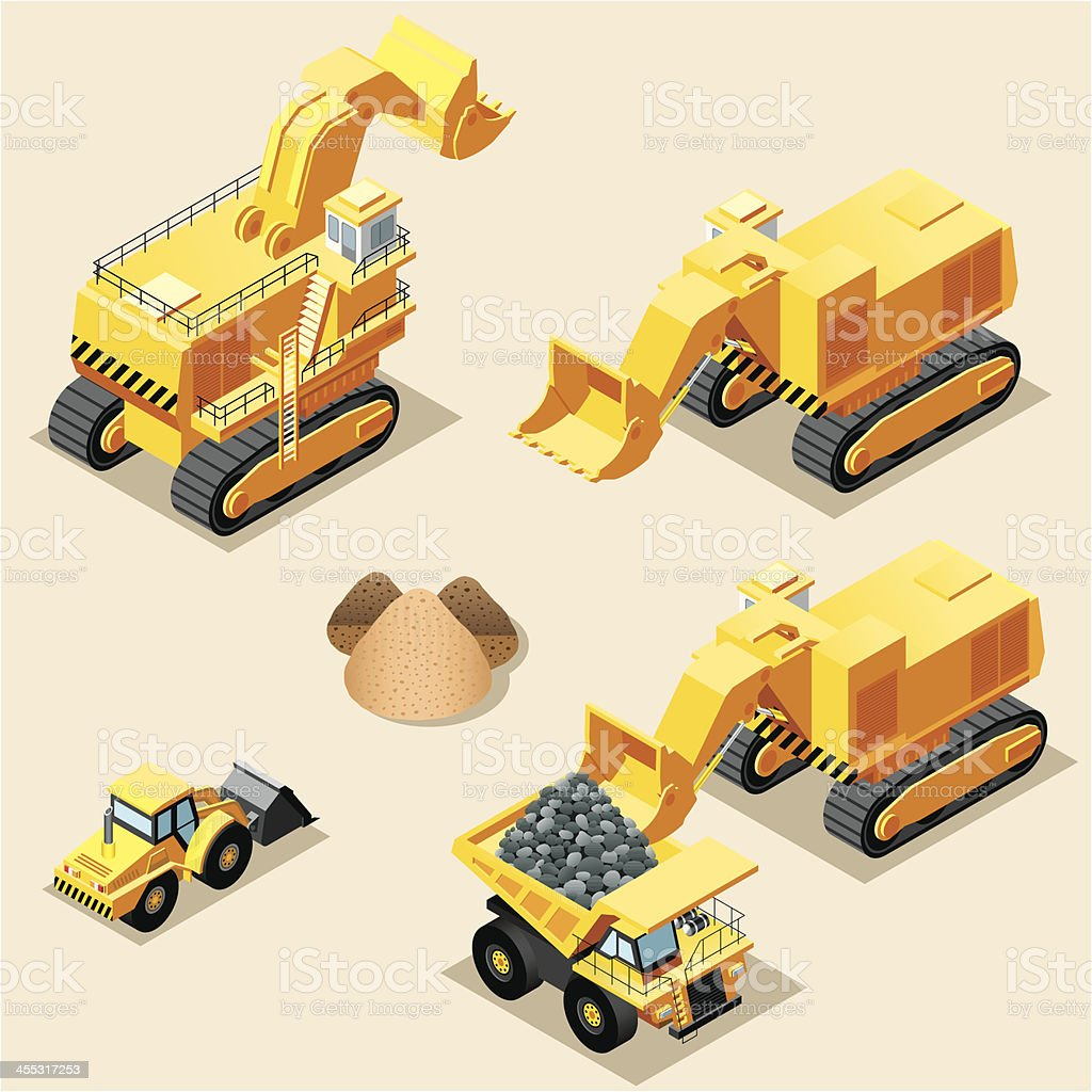 Isometric, Mining machinery royalty-free stock vector art