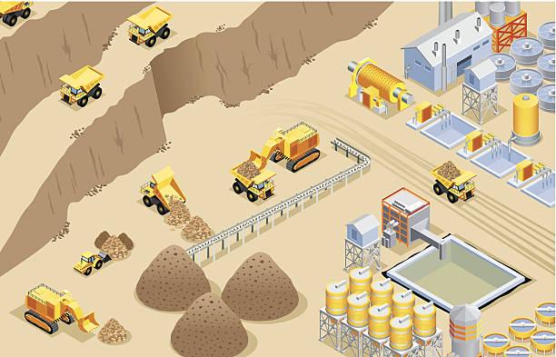 bildbanksillustrationer, clip art samt tecknat material och ikoner med isometric mining - mining