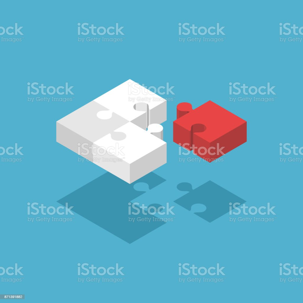Isometric missing puzzle pieces vector art illustration