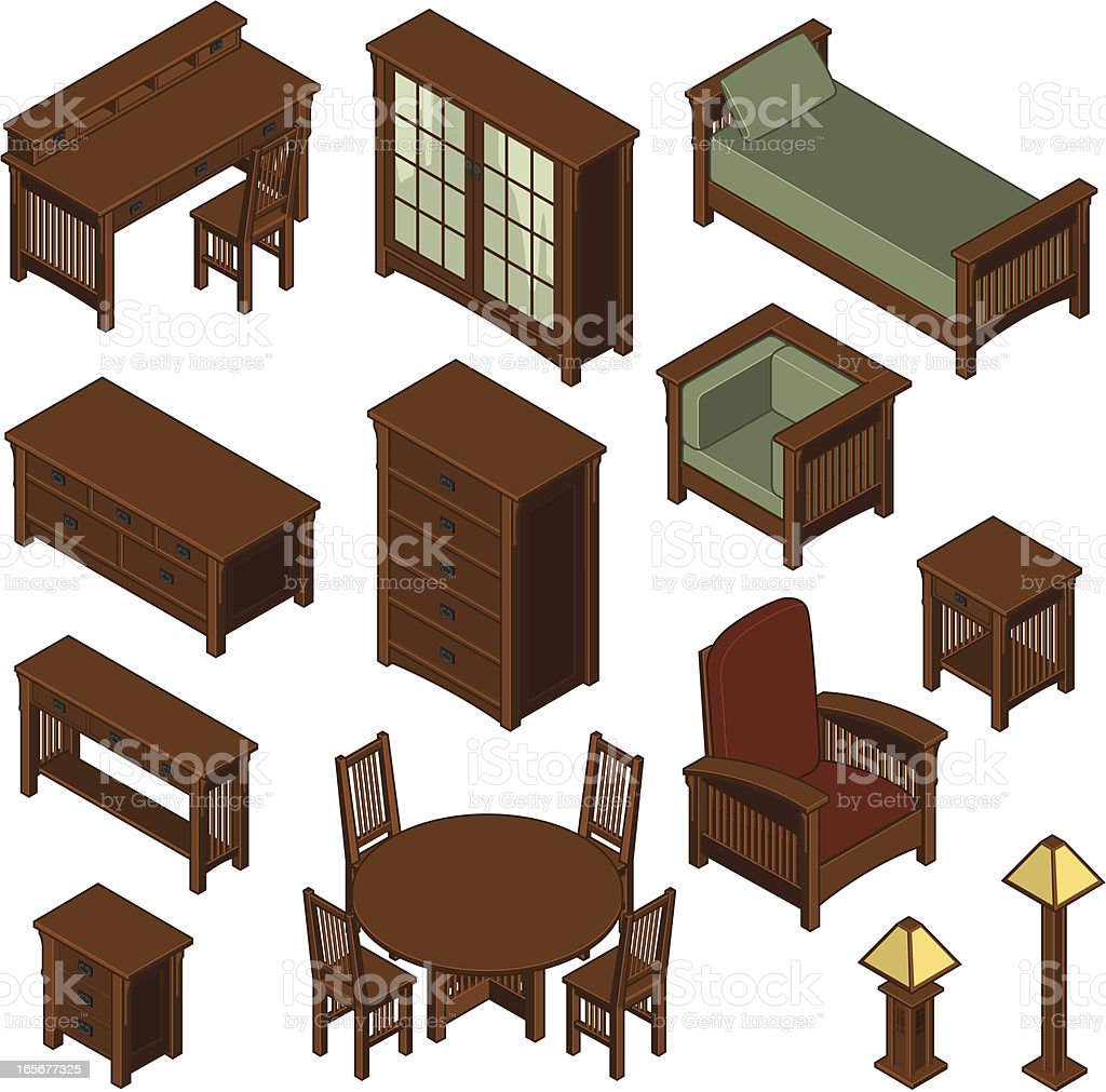 Isometric Mission Style Furniture Three royalty-free stock vector art