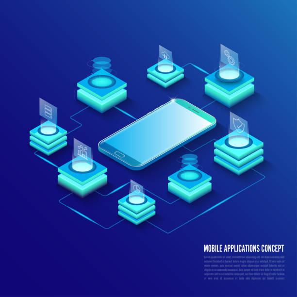 Concepto de aplicaciones móviles isométricas. Desarrollar el concepto de tecnologías de programación y codificación. Interfaz de usuario UX UI y proceso de experiencia del usuario. - ilustración de arte vectorial