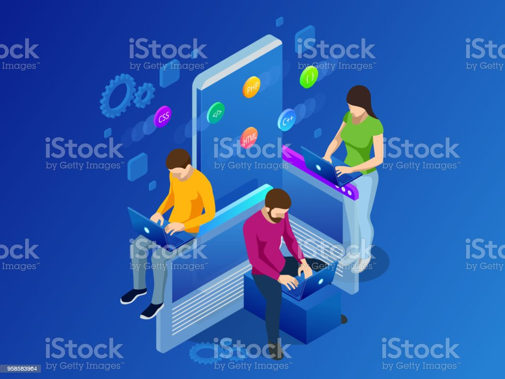 Isometric Mobile Applications concept. Developing programming and coding technologies concept. UX UI User Interface and User eXperience Process vector art illustration