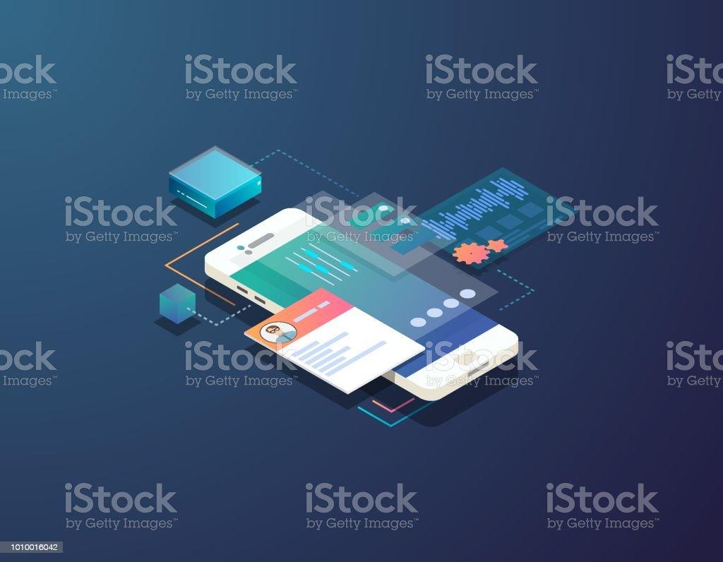 Ilustración de isométrica de desarrollo móvil ilustración de ilustración de isométrica de desarrollo móvil y más vectores libres de derechos de aplicación para móviles libre de derechos