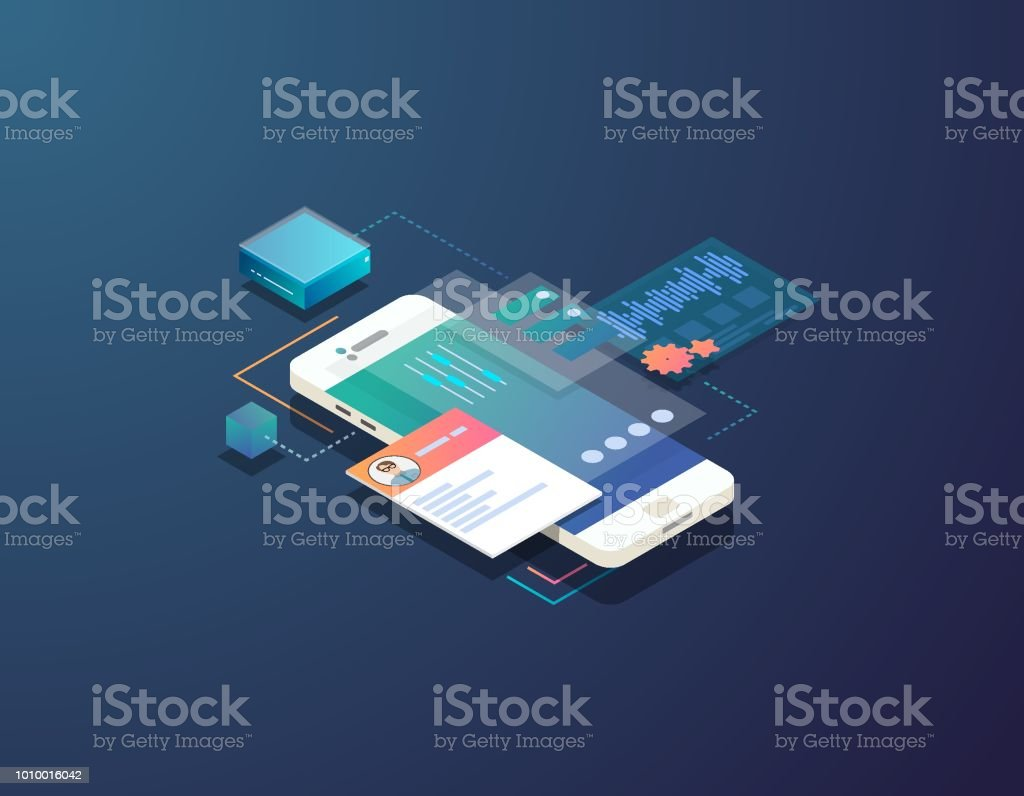 Isometric mobile development illustration vector art illustration