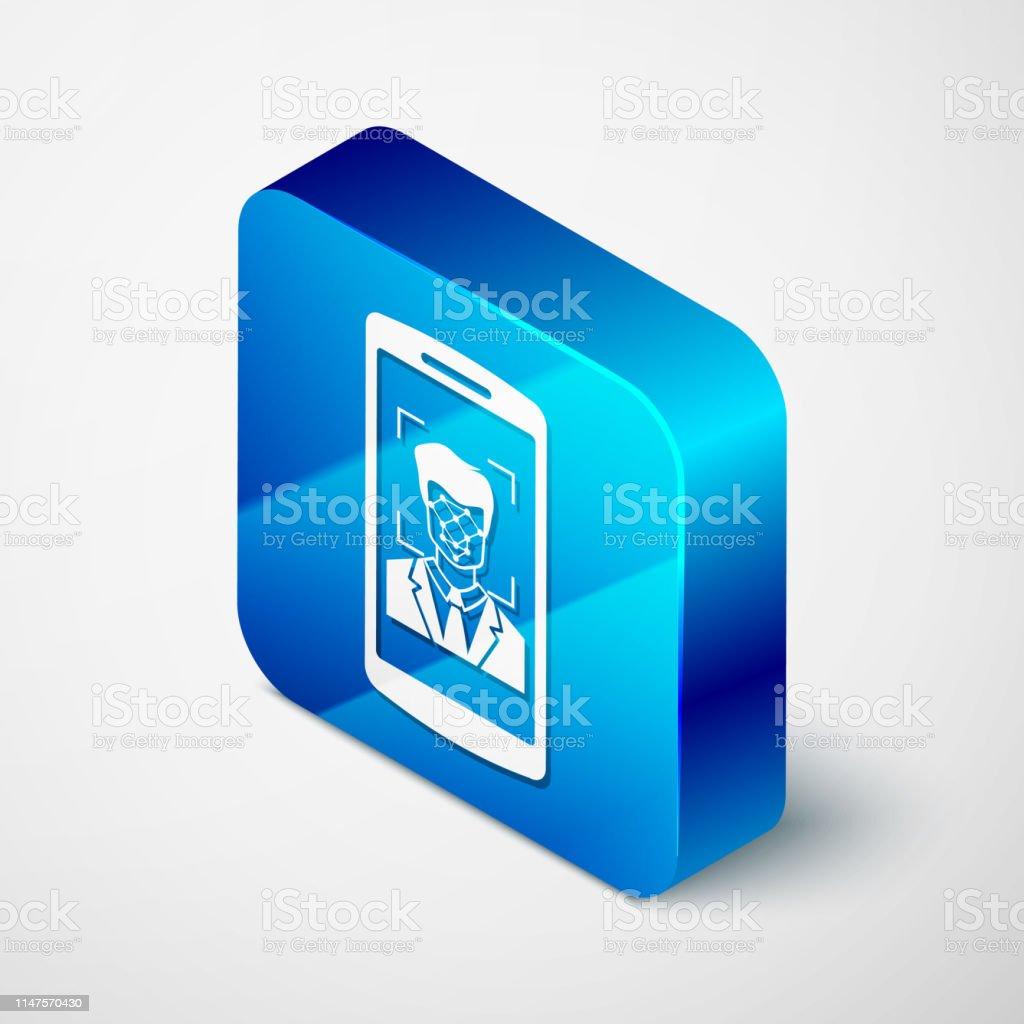 Isometric Mobile Phone And Face Recognition Icon Isolated On