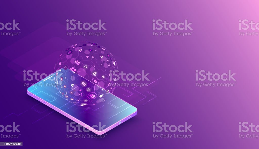 Isometric Mobile Phone Big Data Flow Processing Concept