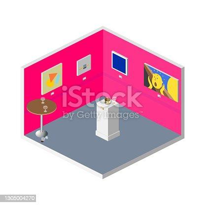 istock Isometric Modern Art Gallery Interior - Exhibition Opening Night 1305004270