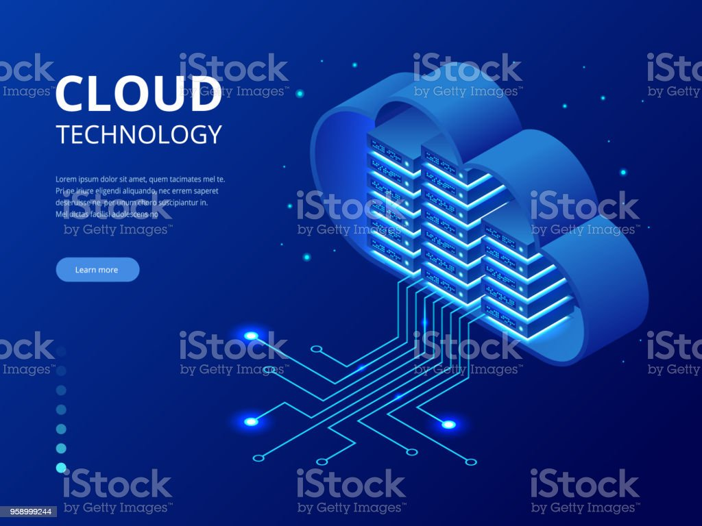 Isometric modern cloud technology and networking concept. Web cloud technology business. Internet data services vector illustration vector art illustration