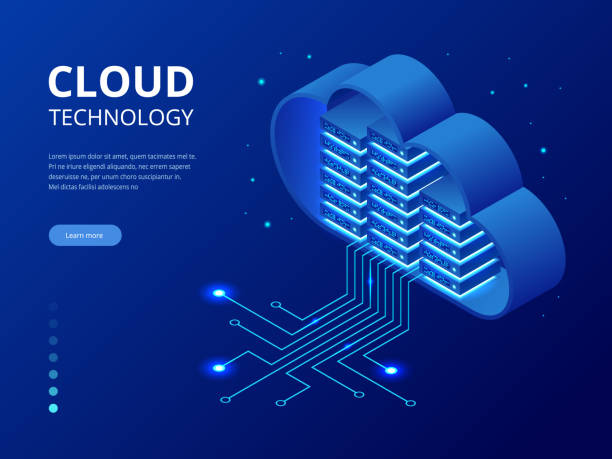 Isometric modern cloud technology and networking concept. Web cloud technology business. Internet data services vector illustration Isometric modern cloud technology and networking concept. Web cloud technology business. Internet data services vector illustration. cloud computing stock illustrations