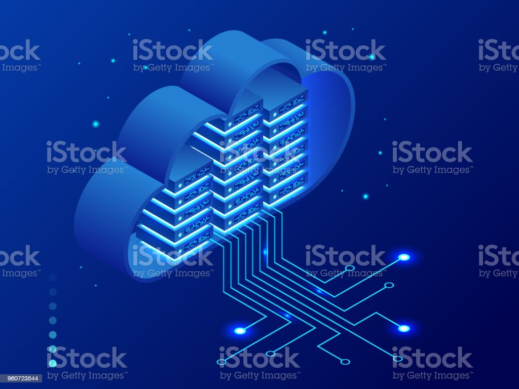 Isometric modern cloud technology and networking concept. Web cloud technology business. Internet data services vector illustration. vector art illustration