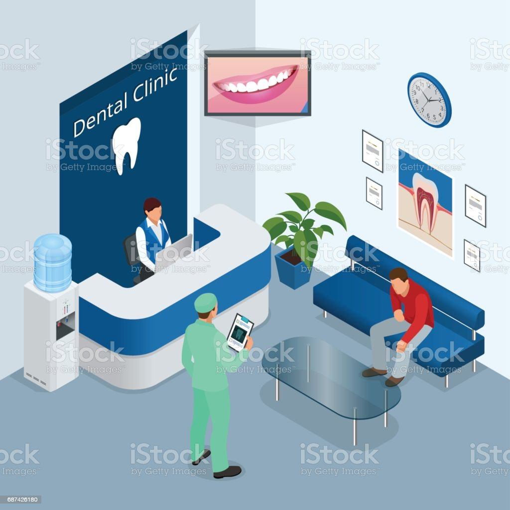 Isometric Modern dental practice. Dental chair and other accessories used by dentists in blue, medic, reception, detail dental panoramic radiograph equipment. Flat vector concept vector art illustration