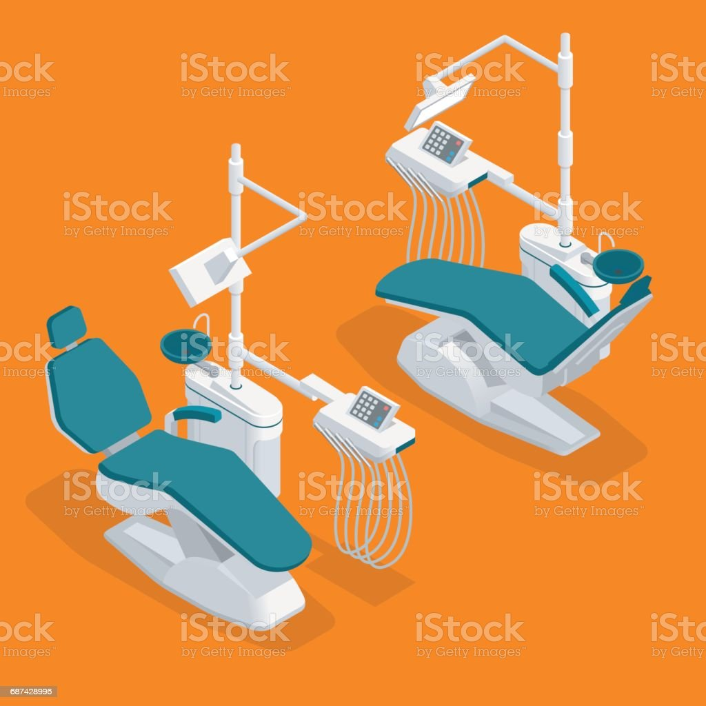 Isometric Modern Dentist Chair Isolated. Equipment in dental cabinet. Modern dental practice. vector art illustration