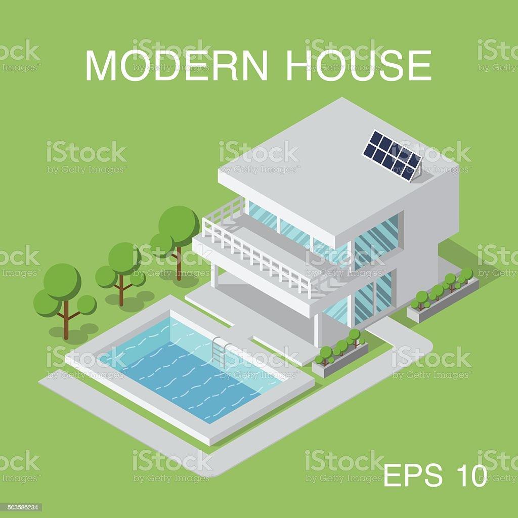 Isometric Modernen Haus Stock Vektor Art und mehr Bilder von ...