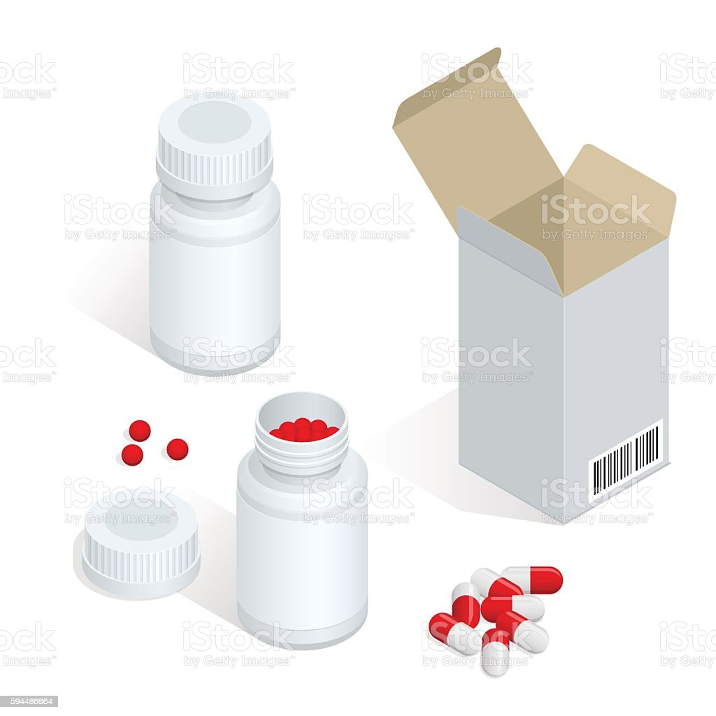 Isometric Modern pill bottle for pills or capsules vector art illustration