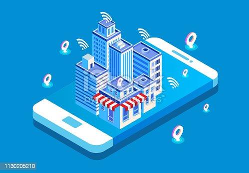 Isometric modern technology city life