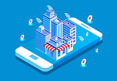 Isometric modern technology city life