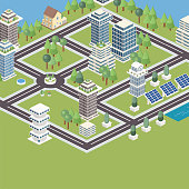 Modular isometric city tiles. Partial view of isometric city parts with a flat background.