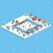 A set of modular tiles in winter. Contains varying buildings and vehicles.