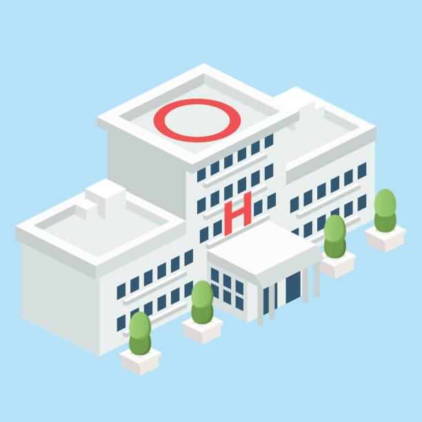 bildbanksillustrationer, clip art samt tecknat material och ikoner med isometrisk modular sjukhus - hospital