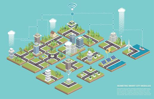 Isometric Modular Smart City Tiles