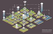 Modular isometric city tiles. Smart city concept.