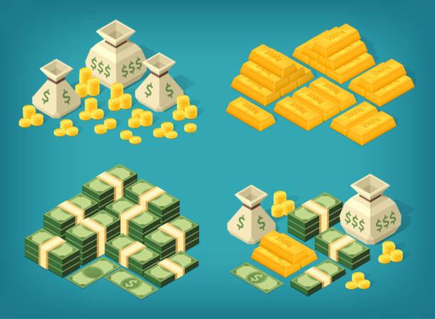 Isometric money Set of high quality money stacks. Bundles of banknotes, coin sacks, gold bars. Eps10 Vector. ingot stock illustrations