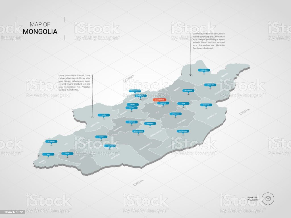 Isometric Mongolia Map With City Names And Administrative Divisions - Us-map-with-city-names