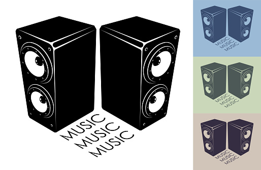 Isometric monochrome musical speakers for playing music. Disco equipment. Black and white vector isolated on white background