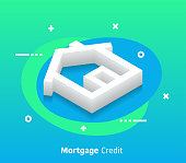 Mortgage credit isometric design concept with modern flat style gradients. Vector design elements useful for web banner or poster.