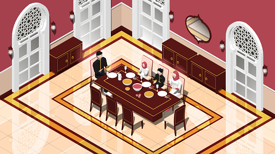 Isometric Moslem Family Iftar In Dining Room