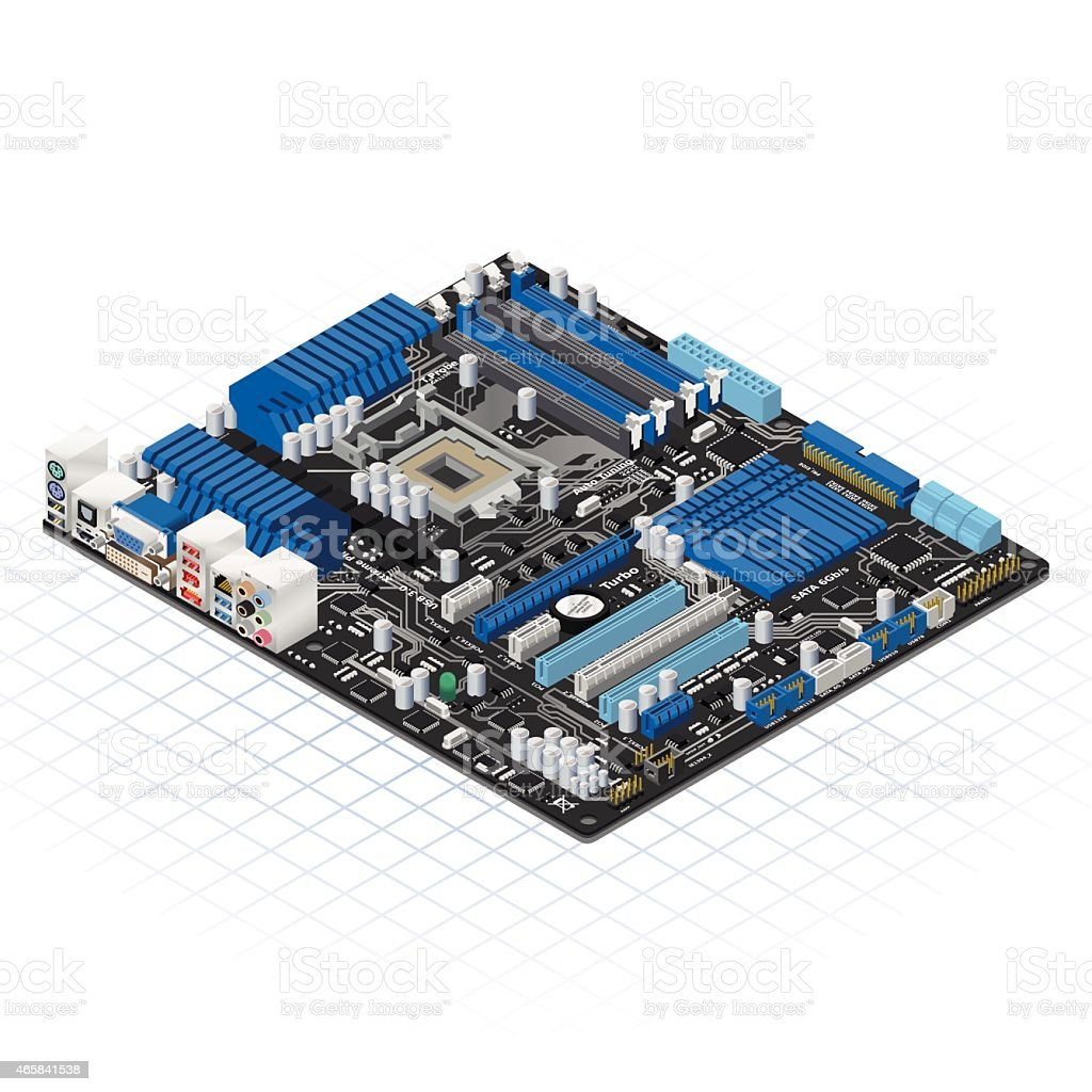 Isometric Motherboard Vector Illustration vector art illustration