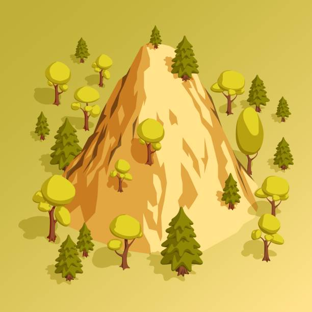 Bекторная иллюстрация Isometric mountain hill surrounded by various trees in the forest