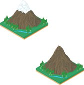 A vector illustration of an Isometric Mountain landscape with snow, forest and a river.