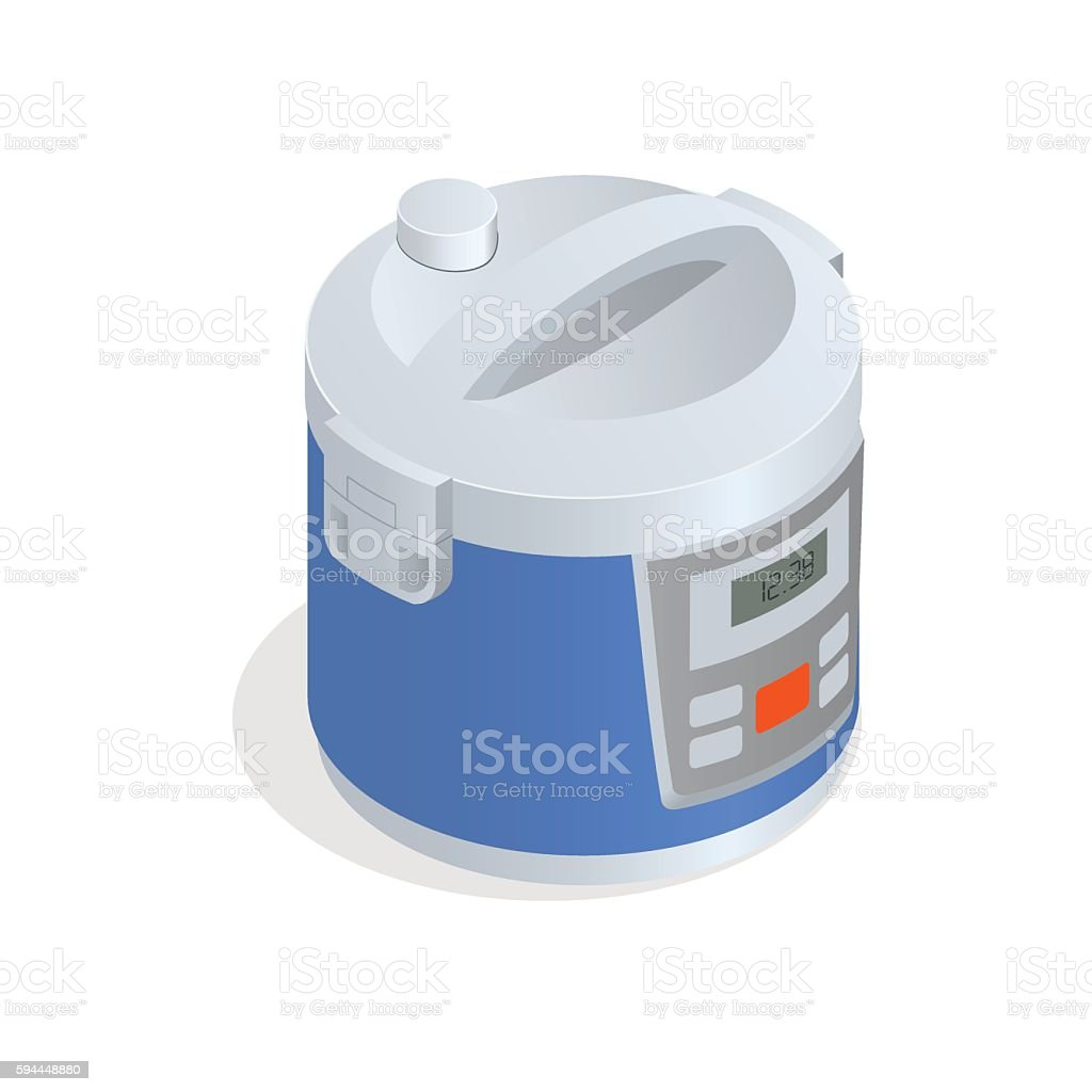 Isometric Multi cooker, crock-pot, multivarka vector art illustration