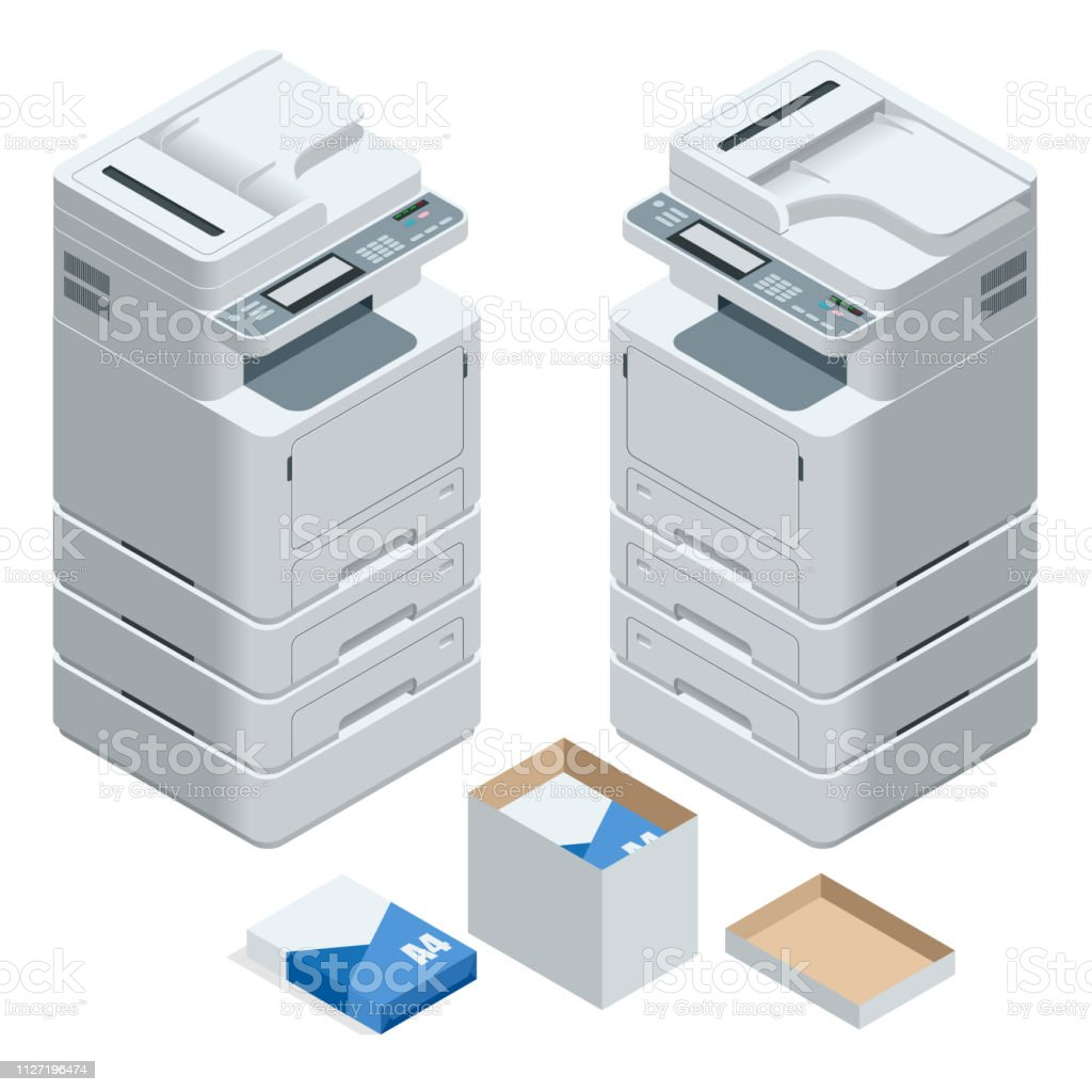 Isometric multifunction office printer. Office professional multi-function printer scanner isolated flat vector illustration