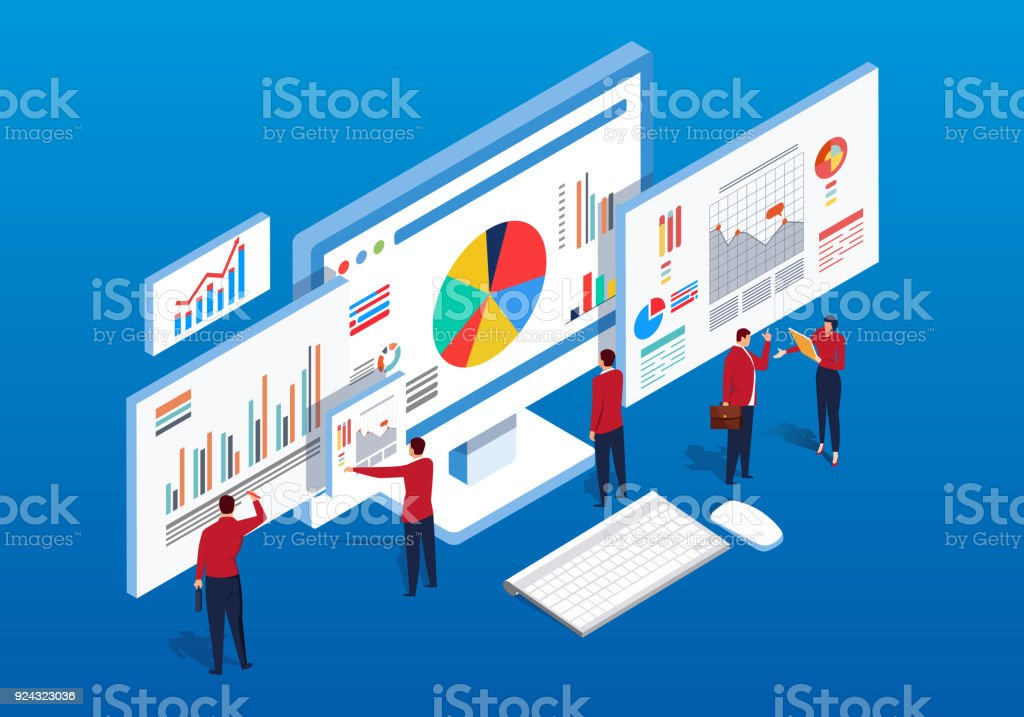 Isometric multiple web pages and data analysis vector art illustration
