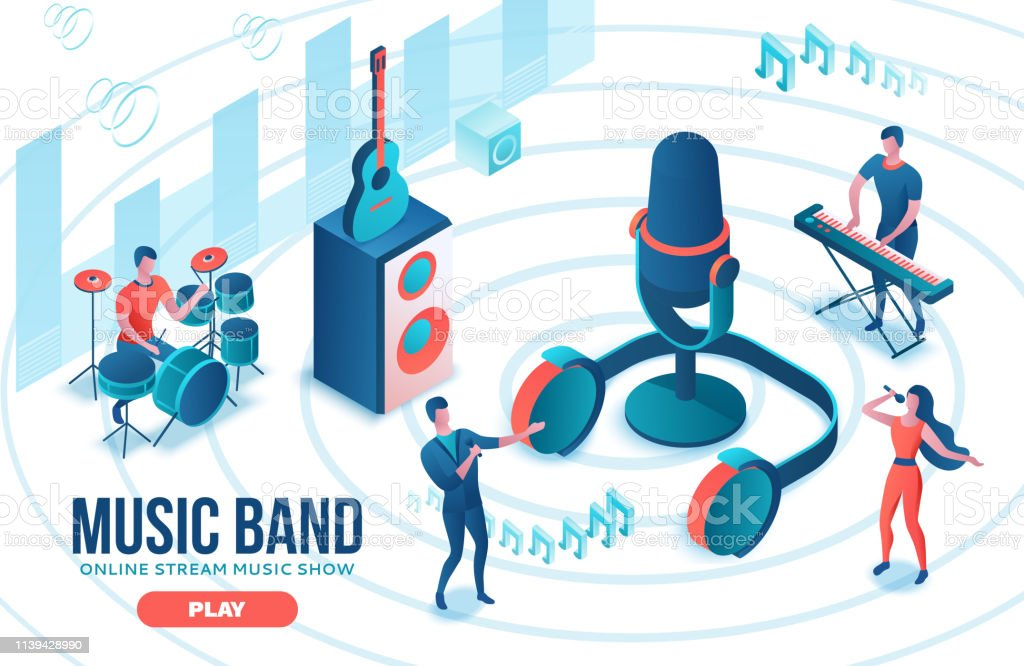 Isometric music radio show 3d illustration, modern concert poster, audio blog concept, vector landing page with people singing, microphone, guitar, podcast recording sound studio, living coral color
