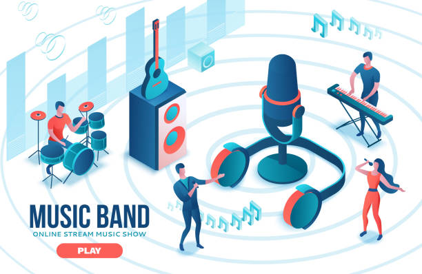 Isometrische Musikradio-Show 3d Illustration, modernes Konzertplakat, Audio-Blog-Konzept, Vektor-Landing Page mit Menschen singen, Mikrofon, Gitarre, Podcast-Soundstudio, lebende Korallenfarbe – Vektorgrafik
