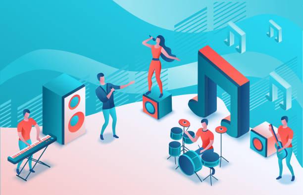 Isometrische Musik-Radio-Show 3D-Illustration, moderne Konzertposter, Audio-Blog-Konzept, Vektor-Landing-Seite mit Menschen singen, Mikrofon, Gitarre, Podcast Aufnahme Tonstudio, lebende Korallen Farbe – Vektorgrafik