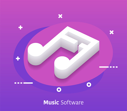 Isometric Music Software Vector Web Banner & Icon Design