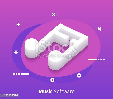 Music software isometric design concept with modern flat style gradients. Vector design elements useful for web banner or poster.
