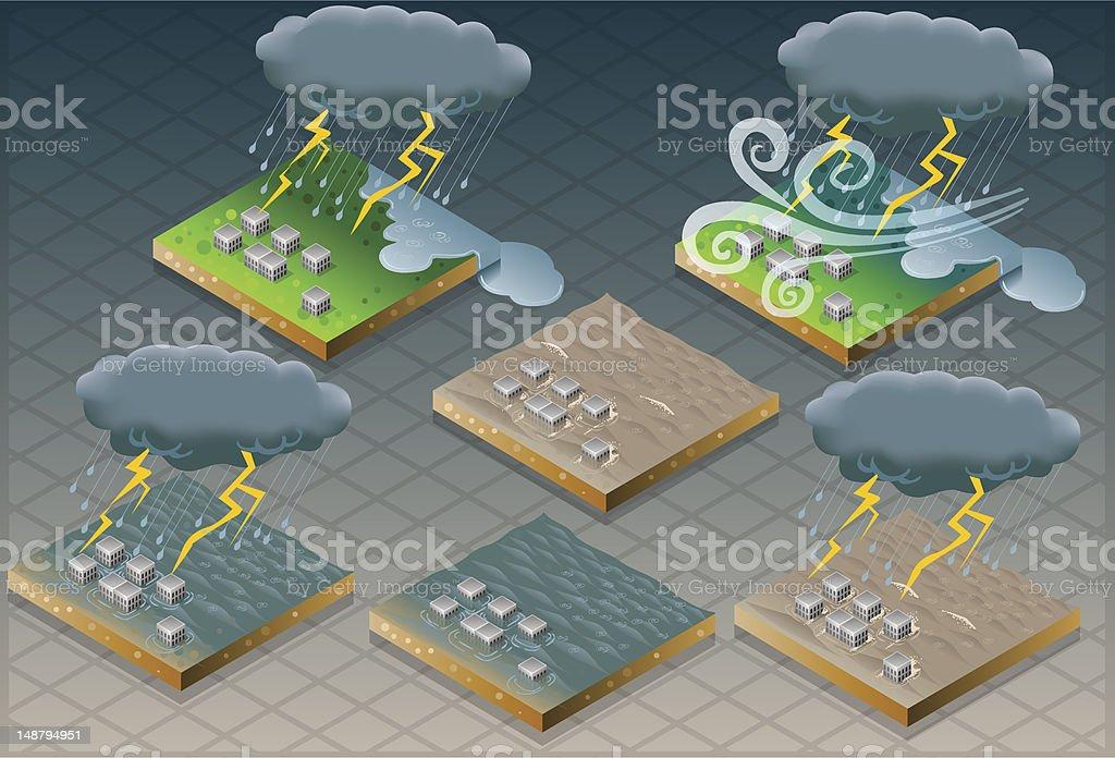 isometric natural disaster flood mudded terrain vector art illustration