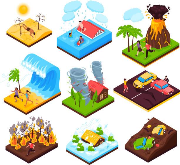 stockillustraties, clipart, cartoons en iconen met isometrische natuurramp set - illustraties van bosbrand